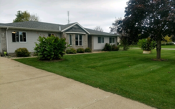 Well-maintained yard of local Progressive Living Solutions group home.