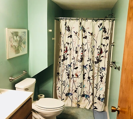 Main bathroom at local Progressive Living Solutions group home.